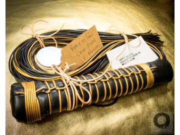 Fetish BDSM art leather flogger whip, handmade shibari style, no glue. Mitsubachi, the Honeybee: perfectly balanced, 77 black and gold tails
