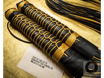 Mitsubachi BDSM Florentine Floggers. Statement fetish leather BDSM flogger whips. Perfectly balanced BDSM-gear. No glue, 100% shibari style.