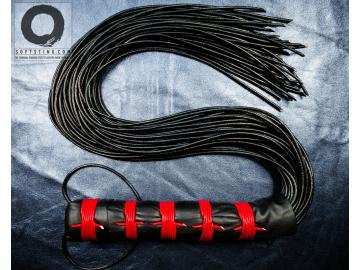 Katana One: signature BDSM leather flogger whip. Statement fetish BDSM-gear handmade 100% shibari style, perfectly balanced, no glue.