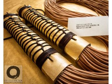 Statement fetish gear: Kōsen Florentine Floggers. Balanced BDSM leather floggers whips, rigged 100% shibari style, no glue.