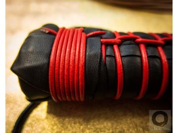 BDSM leather flogger whip. No glue, shibari style fetish BDSM gear. Tatsumaki: 3ft (92cm) long, perfectly balanced, 77 leather tails.
